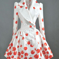 Elegant White Double-breasted Red Cherry Slim Jacket Coat Outerwear
