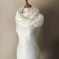 Knitted merino wool möbius scarf, cowl, wrap in cream colour