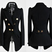 New Womens OL Temperament Slim Double-breasted Jacket Suit Long Coat #10095