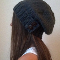 Knit slouchy hat - CHARCOAL GRAY (more colors available - made to order)