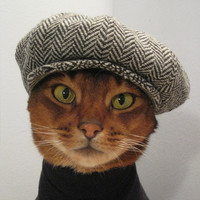 Newsboy Cap for CAT in black/grey herringbone