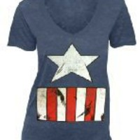Captain America Costume Print Indigo Blue V-Neck Juniors T-shirt by TVStoreOnline - Teenormous.com