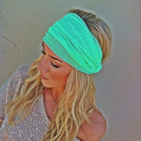 Bright Mint Green Mesh Headband Wide Women&#x27;s Turban Style Hair Covering