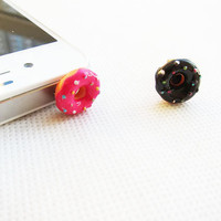 Sprinkle Donuts - Yellow Frosting/Chocolate Donut Iphone Plug/Dust Plug - Ready to Ship Cellphone Accessories