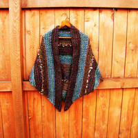 vintage autumn colors hand crochet shawl. fall fashion.