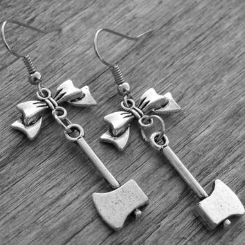 Silver Axe Earrings Silver Axe Jewelry Axe and Bow Gothic Jewelry Goth Horror Movie Jewelry Serial Killer Slasher Murder Weapon Bow Earrings