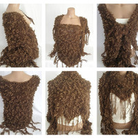 FREE SHIPPING -Hand knitted chocolate brown magic shawl