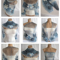 FREE SHIPPING -Hand crocheted blue white navy blue triangle Shawl Scarf