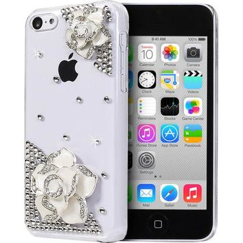 Fosmon - GEM 3D Protective Bling/Crystal Design Hard Snap-On Back Case Cover for Apple iPhone 5c