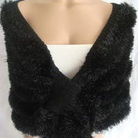Hand knitted black silver wedding bolero