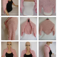 Hand knitted crocheted pink bolero shrug