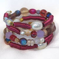 Wrap Bracelet: Chunky Style with Fuchsia and Berry Colors
