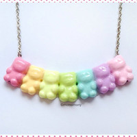 Super Cute Pastel Rainbow Gummy Bears Necklace