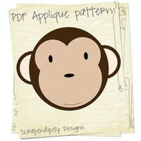 Monkey Applique Template PDF Pattern Shirt Quilt Table Runner Children