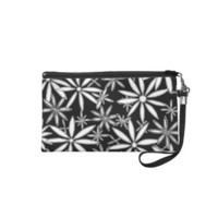 Black and White Daisy Pattern Floral Art Wristlet from Zazzle.com