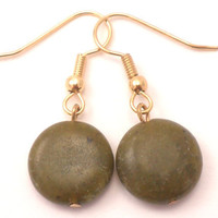 Nephrite Jade Earrings Gemstones with Gold Hooks