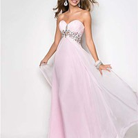 Crystal Pink Rhinestone Chiffon Strapless Sweetheart Prom Gown - Unique Vintage - Homecoming Dresses, Pinup & Prom Dresses.
