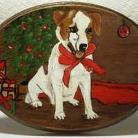 Christmas Pup On Handmade Teeny Wood Table-Free Shipping