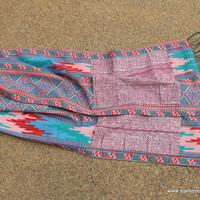 Party Pocket Scarf Pink Hand Stamped Hmong Batik on Cotton With Fringe