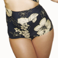 JANET Retro Navy Floral Bikini Bottom Pick Your by MySugarDoll