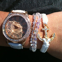 Chunky Set of 4 Watch and Arm Candy Bracelets  White and Gold