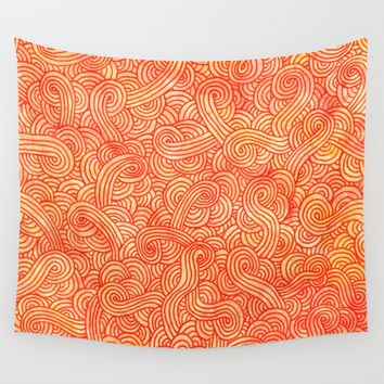 Red and orange doodles Wall Tapestry by Savousepate
