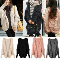 Lady Loose Warm Sweater Coat Wool Knit Cardigan Outerwear Batwing Swallow-tailed