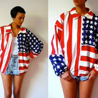 Vtg Zip Up American Flag Stars & Stripes Cotton LS Jacket