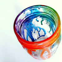 Melted Tie Dye Rainbow Neon Mason Jar Glass Canister Storage Jar