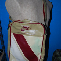 Retro inspired Nike messenger bag,unisex messenger bag, tan and maroon bag, cream and yellow bag