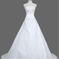 A-line Sweetheart Court Train Satin Tulle Lace Wedding Dresses With Embroidery Beading