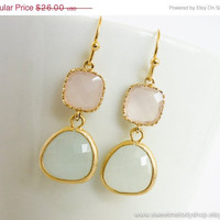 AUTUMN SALE - Ice Pink Mint Gold Drop Earrings - wedding jewelry, bridal, bridesmaid gifts, friendship gift, sweet, candy, pastel earrings