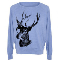 Womens Buck Deer Genius Woodland Sweatshirt Raglan Pullover Sweater  - American Apparel - S M and L (8 Color Options)