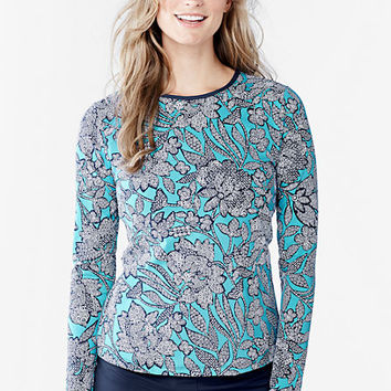 Women's Swim Tee Rash Guard - Kinetic Floral from Lands' End
