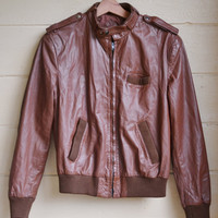 Vintage 1980s Leather Jacket Members only Style Bomber Jacket Unisex Leather Coat