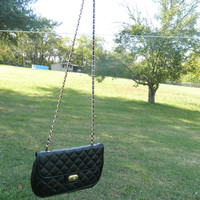 Vintage black quilted gold chain purse
