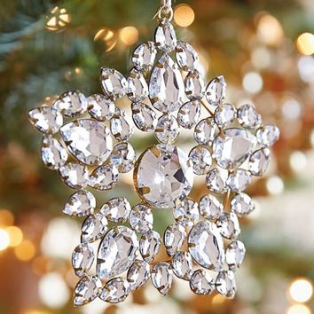 Silver Jeweled Snowflake Ornament