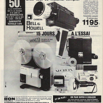 Vintage 1973 French Movie Camera Shop Advertisement Vintage Camera Ad Wall Decor Super 8 Camera Ad Bell & Howell Camera Movie Production