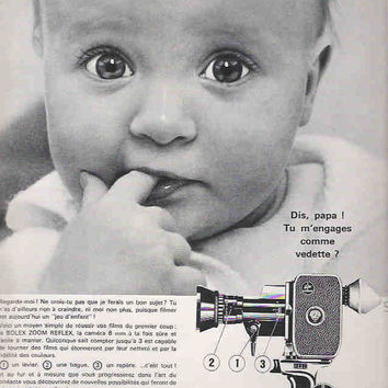 Wall Decor 1966 French 8mm Camera Advertisement Paillard Bolex Camera Ad Vintage Movie Camera Ad Movie Production Studio Decor 60's Baby