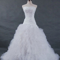 A-line Strapless Cathedral Train Tulle/ Elastic Woven Stain Wedding Dress