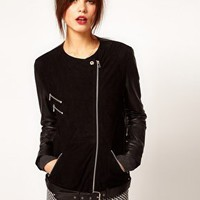 Warehouse Suede And Leather Jacket at asos.com