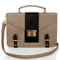Town Plaza Black and Grey Satchel
