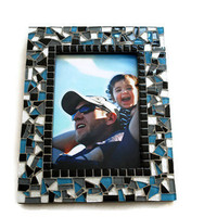 Black and Blue Mosaic Picture Frame