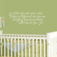 When you wish upon a star Vinyl Wall Quote by MommyofTy on Etsy