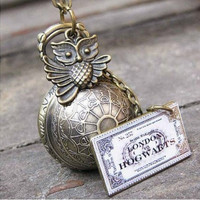 harry potter Enchanted Steampunk Golden snitch necklace with owl,train ticket----I open at the close