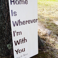 Customized &quot;Home is Wherever I&#x27;m With You&quot; sign - large 12x24 personalized names &amp; wedding date
