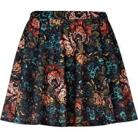 Black tapestry floral print skater skirt
