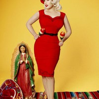 The Lizbeth Dress in Red Bengaline with Black Day of the Dead Embroidery by Pinup Couture | Pinup Girl Clothing