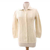 Vintage 1960s Cardigan Sweater Ecru Lace Knit Collar size Medium