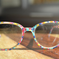 Vintage 1980s Chic Pink, Blue, Aqua, and Yellow Multicolor Round Eyeglasses